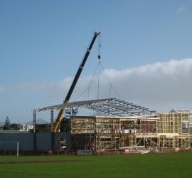 Steeline Crane lifting steel frame