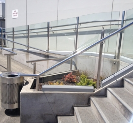 Wheelchair access handrail with stairs